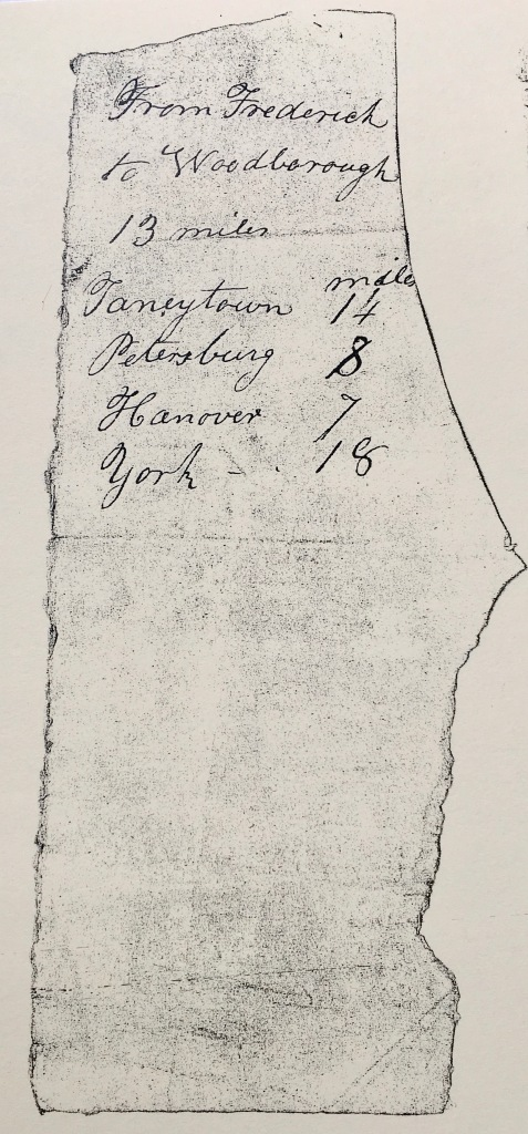 towns to travel north paper captured from escaping slave