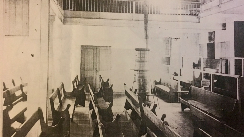 quaker benches in old meeting house