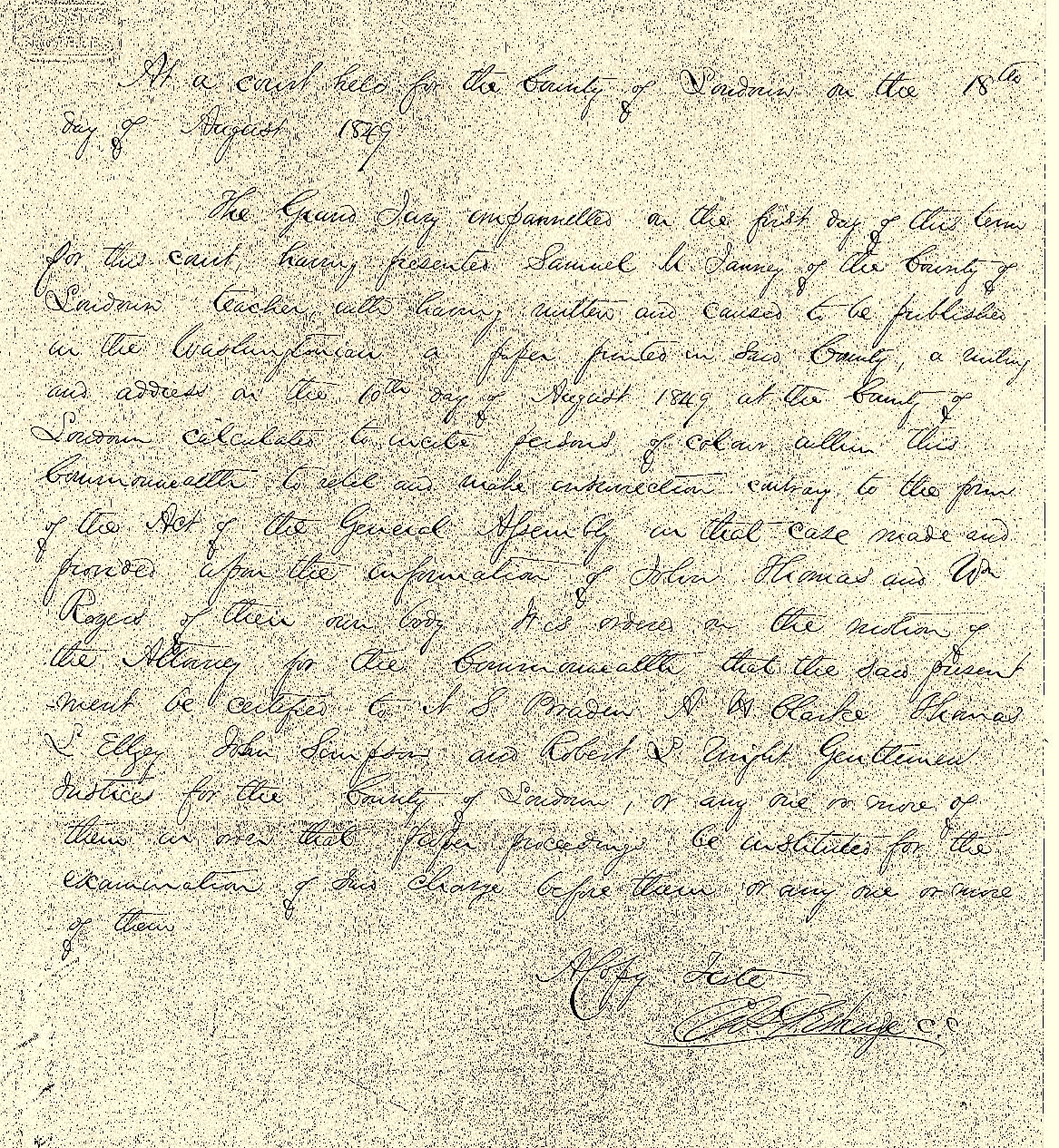 Samuel Janney court document 1849