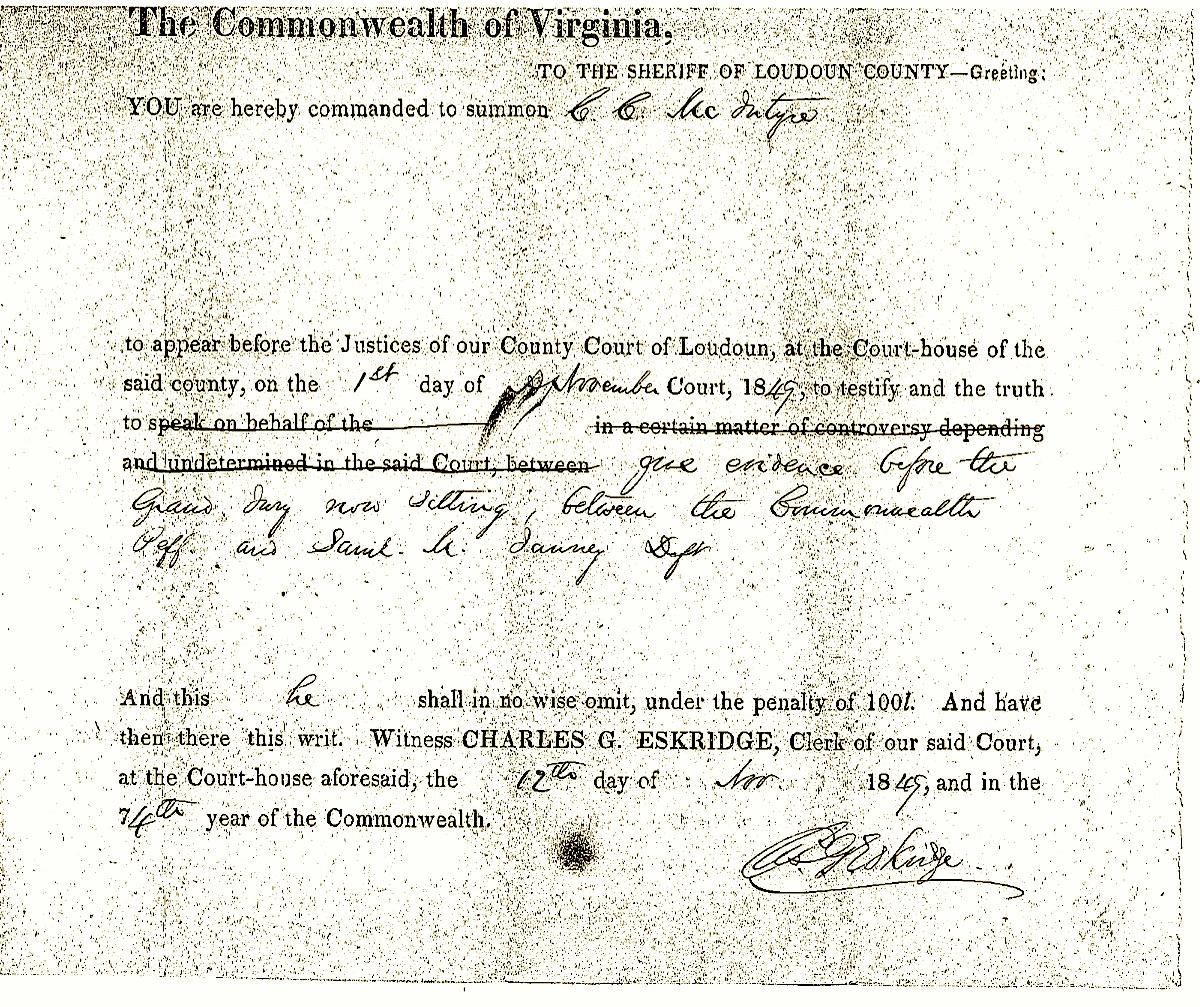 Samuel Janney court summons