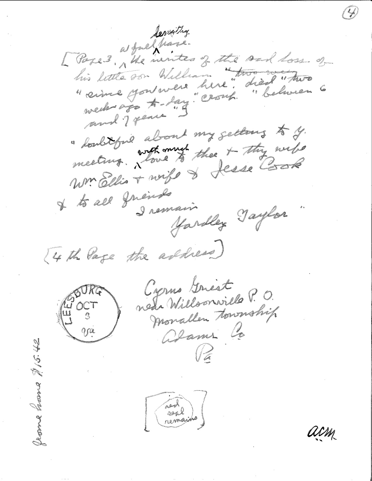 Yardley Taylor letter to Cyrus Greist page 4