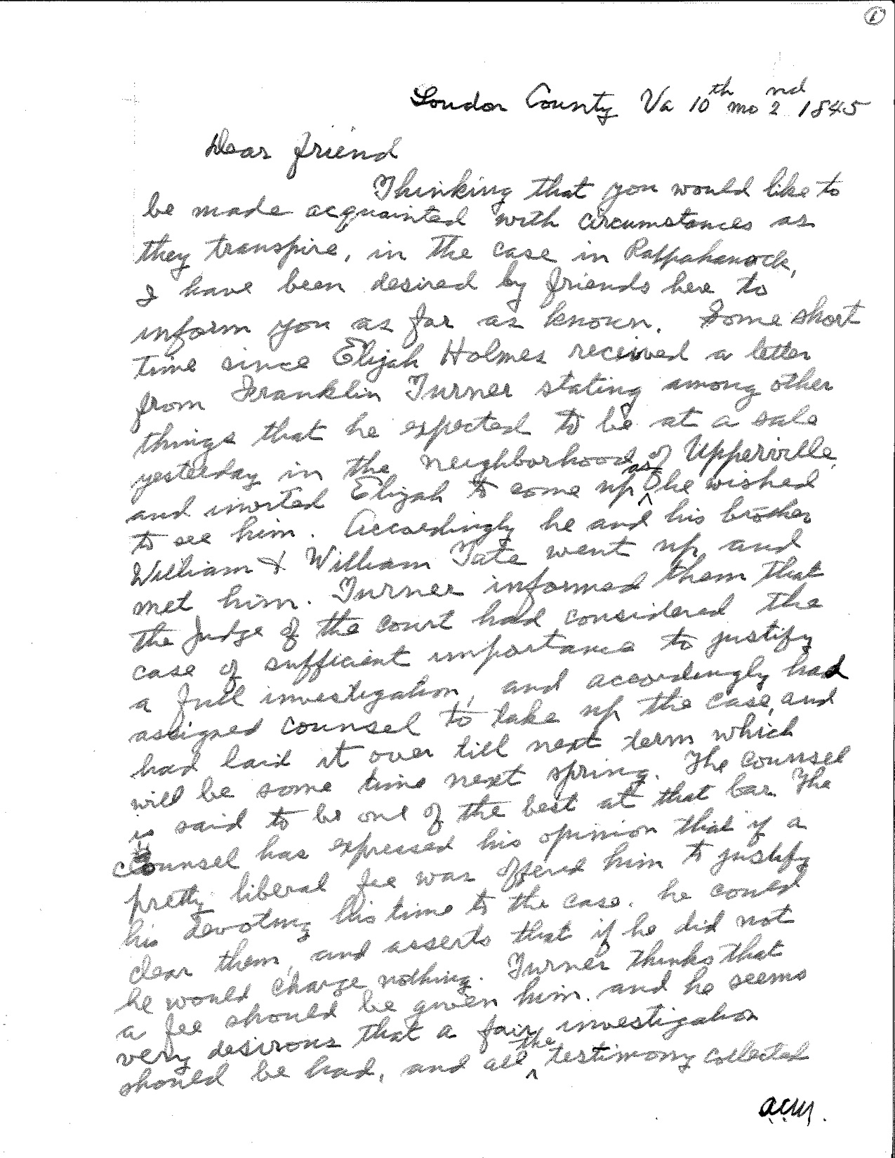 yardley taylor letter to Cyrus Griest 1845 page 1