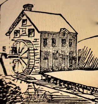 ink drawing of water mill
