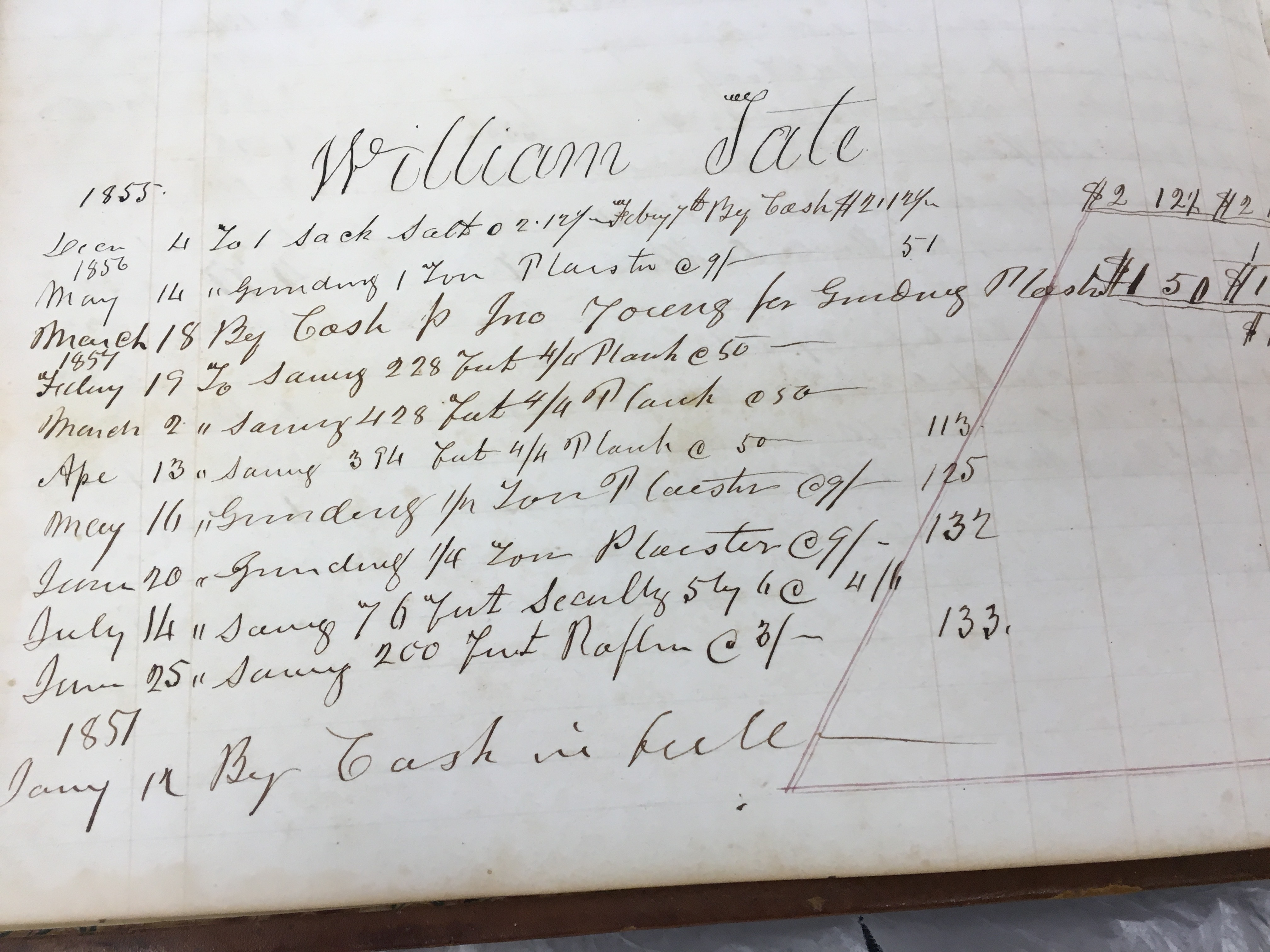 William Tate 1855 Watsons mill bill for plaster