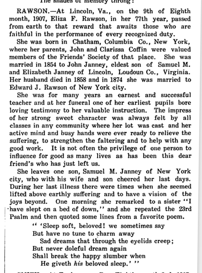 Eliza Rawson obit Aug 24, 1907 Friends Intelligencer (1)