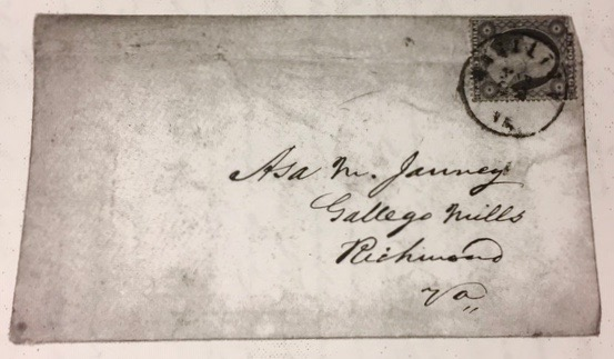 March 1860 envelope to Asa M. Janney at Gallegos Mill, Richmond (1)