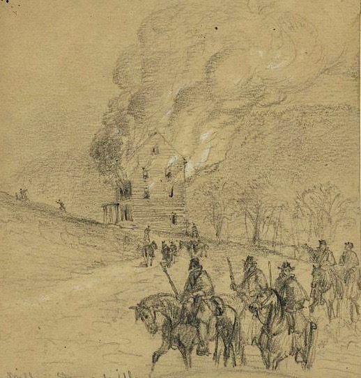 alfred waud civil war sketch of union soldiers burning shenandoah valley