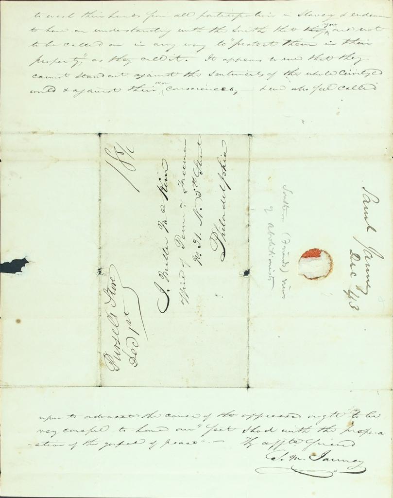 Virginia Quaker Samuel M. Janney envelope letter