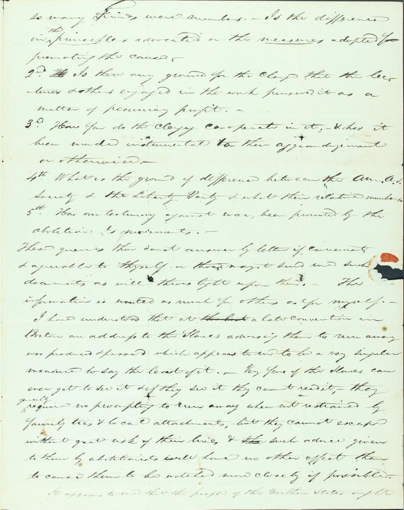 Virginia Quaker Samuel M. Janney anti-slavery letter