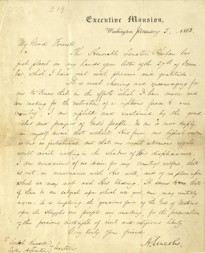 Lincoln letter to Quakers Caleb Russell and Susan Fenton 1863
