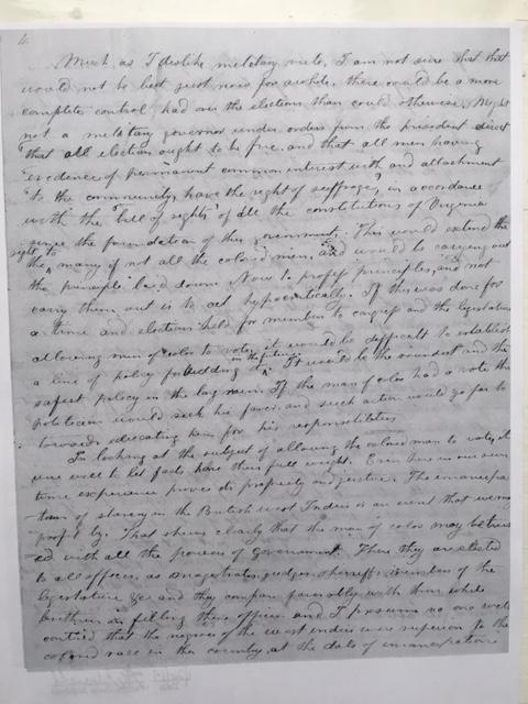 yardley taylor reconstruction 1865 letter lincoln virginia civil war