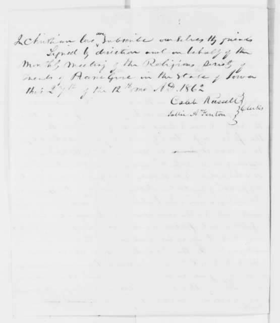 quaker letter to abraham lincoln emancipation proclamation