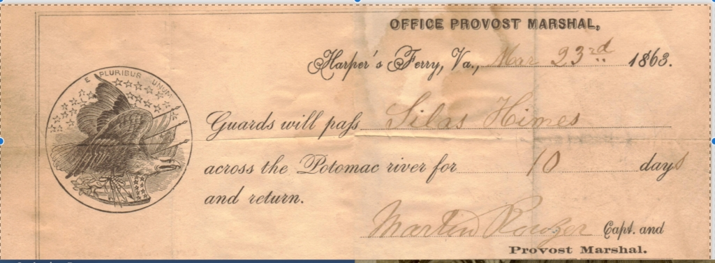 harpers ferry virginia old union army document