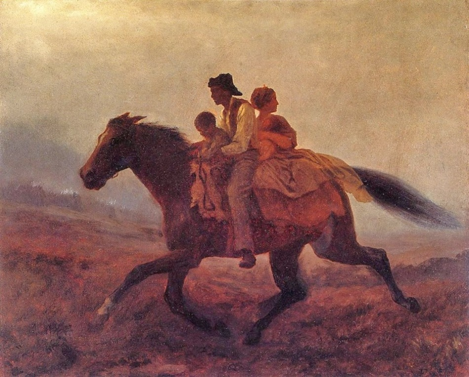 escaping slaves on horseback