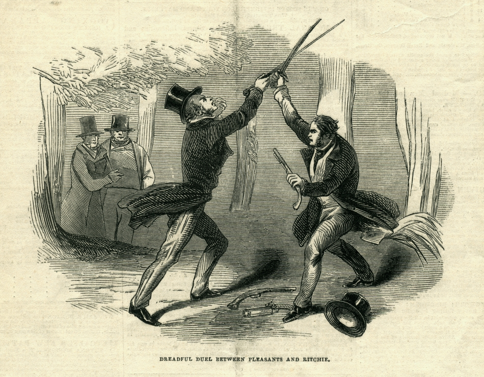 Richmond Virginia old engraving of men fighting