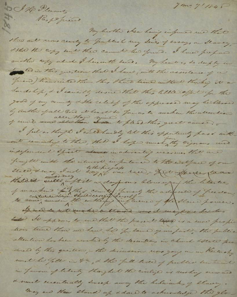 old handwritten letter 1845