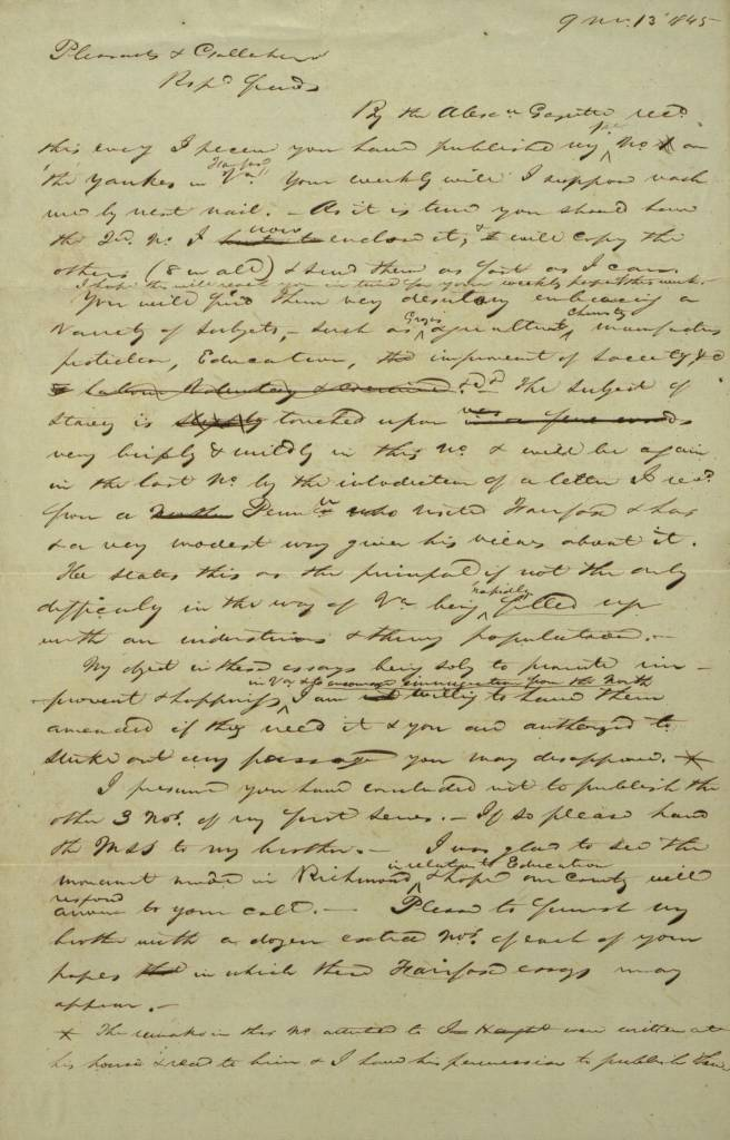 old handwritten letter to richmond whig 1845