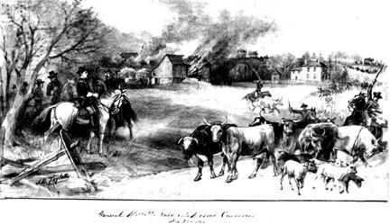 army men burning barns and taking farm animals