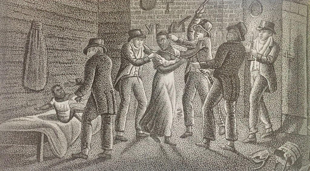 19th century drawing of black woman and child being kidnapped by white men