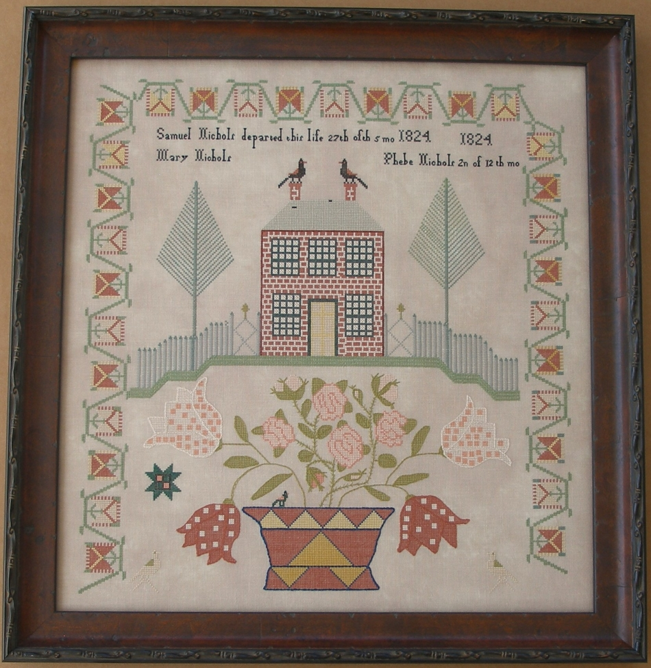 Quaker Virginia woman stitch sampler
