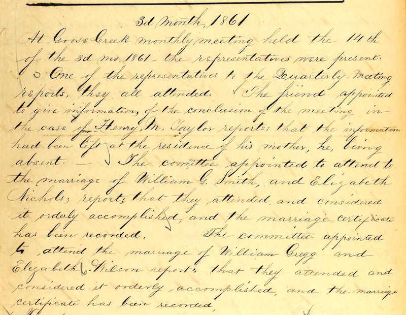 handwritten quaker records of marriage