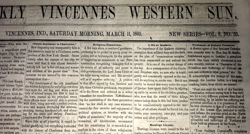old American newspaper civil war