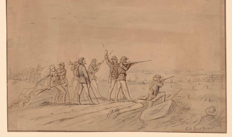 drawing of civil war battle