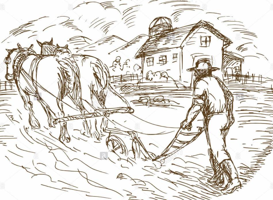 old fashioned farm work with house and silo