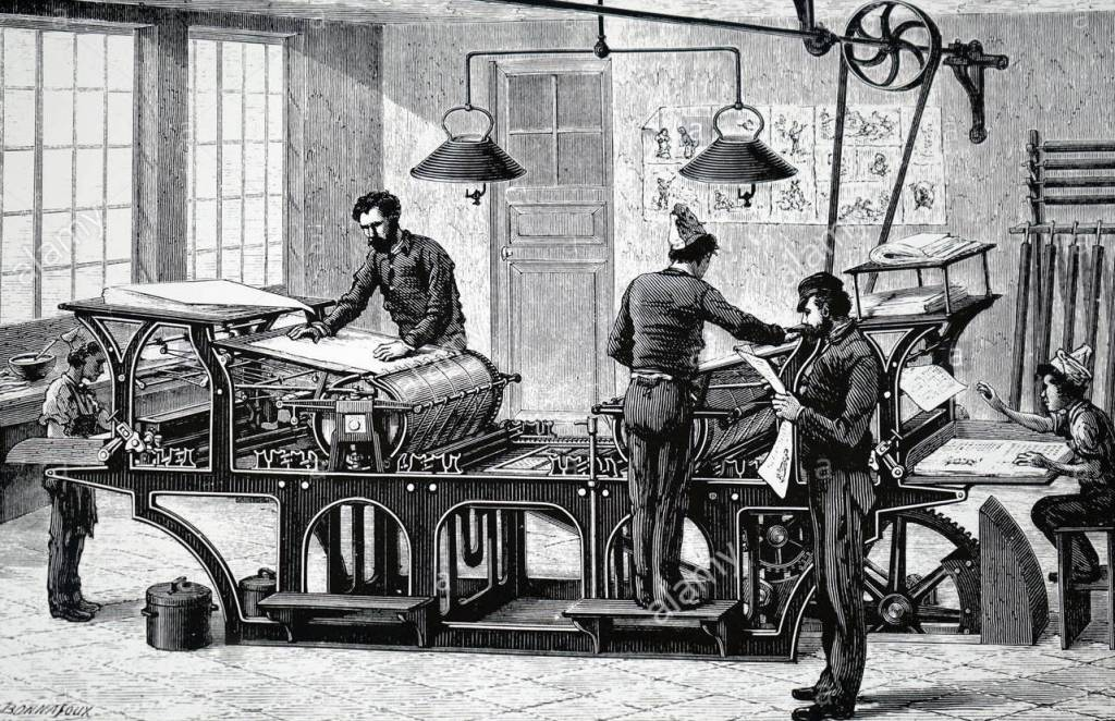 19th century illustration of men working with paper