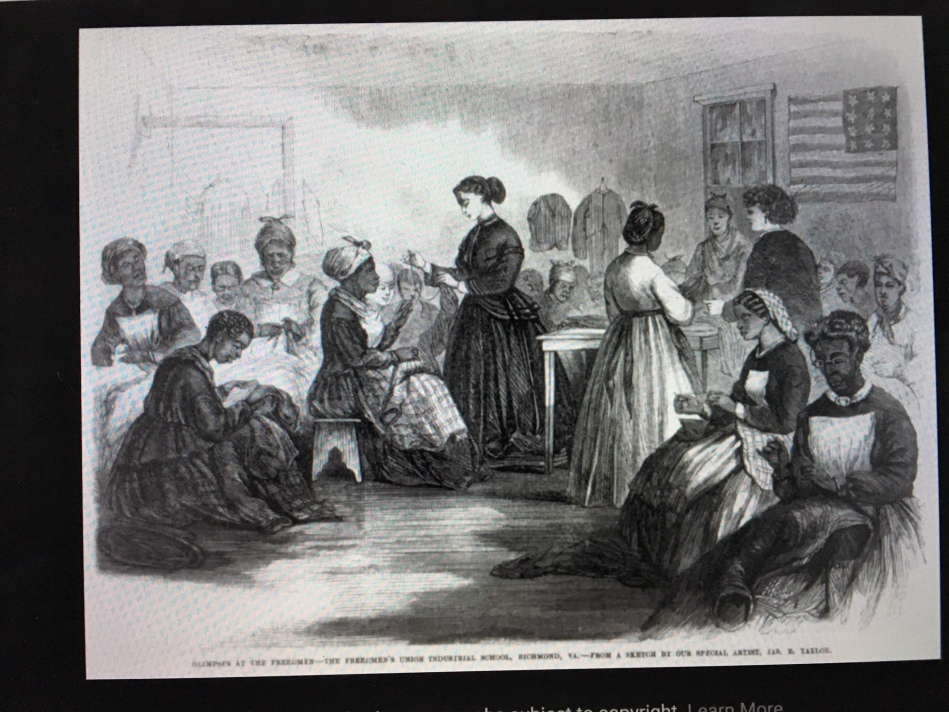old fashioned black and white women sewing