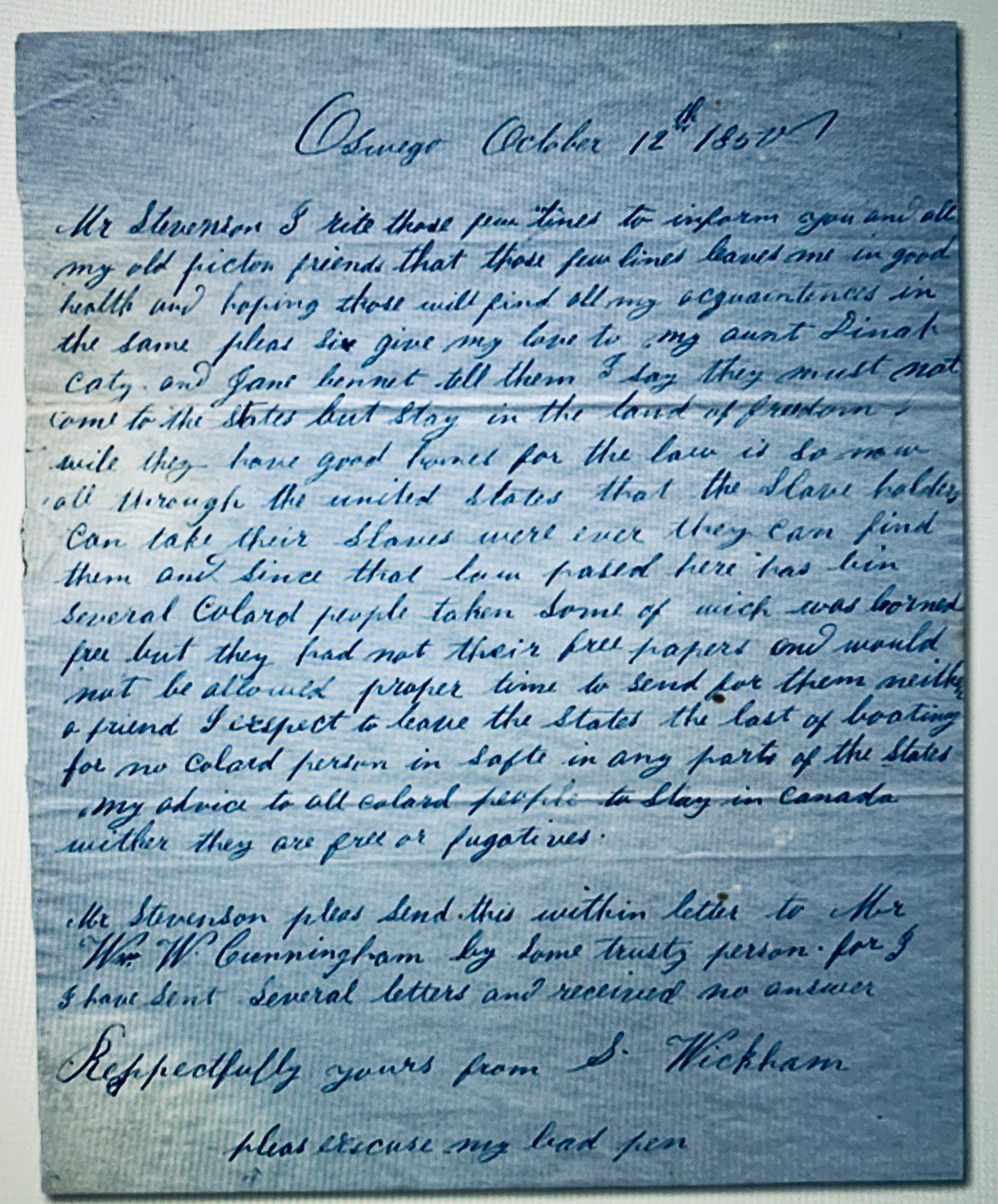 19th century handwritten letter about slave catchers