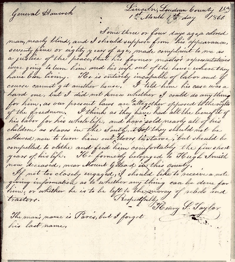 19th century reconstruction letter