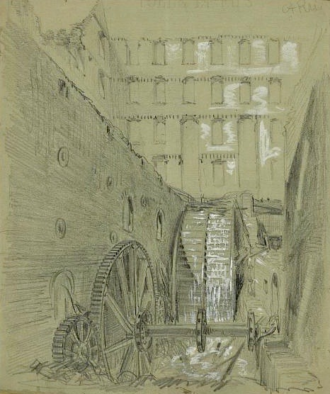 19th century civil war illustration of destroyed mill