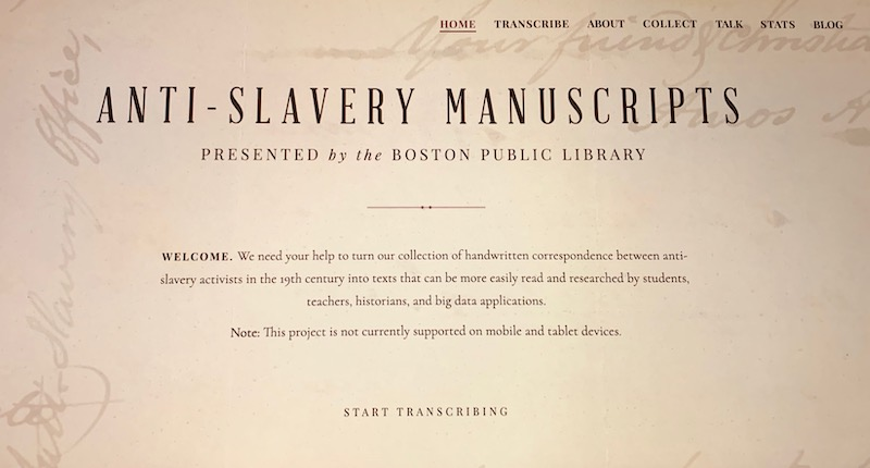 online transcriptions of abolitionist writings from the 19th century