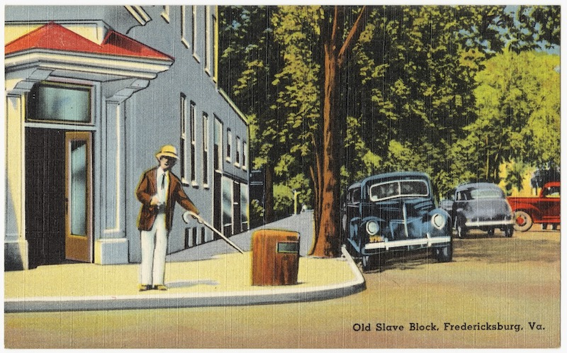 postcard showing slave auction block in Fredericksburg Virginia